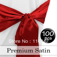 apple red chair sashes - pc cm Apple Red Satin Party Chair Covers Sash Bow Wedding