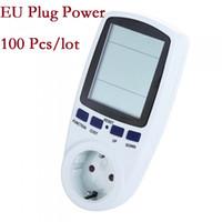 Wholesale 100pcs EU Plug Energy Watt Volt Amps Meter Analyzer Power Electricity Monitor