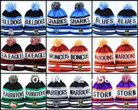 Wholesale New Arrival NRL beanie MELBOURNE STORM Skullies Sport beanie with pom knitted wool Winter hats