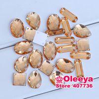 Wholesale 2014 mix shape lt orange rhinestones Sew on Rhinestones Acylic rhinestone buttons Flat back gems DIY Y2125