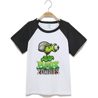 basic cotton clothing - Cartoon children s clothing summer plant clothes cotton Plants vs zombies short sleeve T shirt boy girl cartoon basic