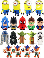 Wholesale 2015 Hot sale Superman Spiderman Star Wars R2D2 Minions Despicable Me Cartoon USB Flash Memory Stick Pen Drive Real GB GB Box