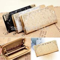 Wholesale FG1511 Details about New Gold Lady s Women ZipPER Bag PU Leather Long Purse Clutch Wallet Card Holder
