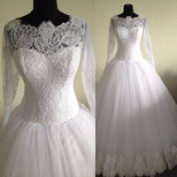 Wholesale Real Photos Sheer Long Sleeve Wedding Dresses Gowns White Lace Tulle Muslim A Line Appliques Bridal Gown Made in China W4057