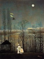 art henri - art Painting canvas Landscape A Carnival Evening by Henri Rousseau High Quality Handmade