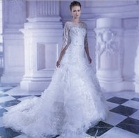 A-Line Reference Images Bateau New Arrival 2015 Luxurious Demetrios A Line 3 4 Long Sleeves Bateau Floor Length Wedding Dresses with Beads Ruffles Crystals Bridal Gowns