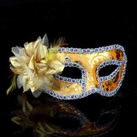 Wholesale Halloween Masks Masquerade ball Mask Party Mask eye mask Venetian Half face masks with flower decoration sexy mysterious princess HM77