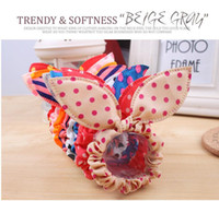 bunny jewelry - Manufacturers Korean version of the two color cloth dot bunny ears ring Tousheng bow head flower hair jewelry headbands mixed