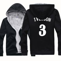 allen iverson jacket - NEW CHEAP BASKETBALL ALLEN IVERSON THE ANSWER Winter Sports Coats Mens Hoodies Sweatshirts Cardigan Thickening Plus Velvet Jacket