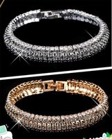 Wedding Bracelets australian gold wholesale - Silver Gold Tone Wedding Engagement Bridal Bracelets Black Australian Crystal Beads Wedding Jewellery