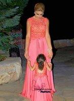 big gala - 2016 new fashion Mother and daughter two Vestido de Festa big yards applique chiffon A line dress robe de Gala mom