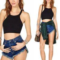 Cheap Hot Stylish 2015 Sexy Women Sleeveless Cropped Top Slim Bodycon Tank Backless Cross Casual Shirt blusa de renda Plus Size M-XXL