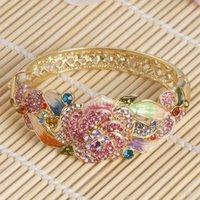 Wholesale Cloisonne enamel diamond encrusted bracelet fashion bracelets gold plated bracelet dazzle colour flowers