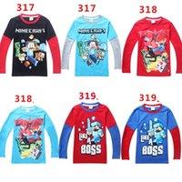 100 % cotton t shirts - 2015 Spring Autumn Boys Minecraft Run Away terry t shirts Children s long Sleeve Cartoon cotton Tshirt Boys shirts Tops tees colors