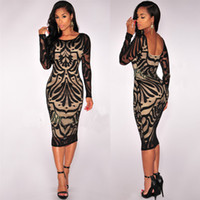 Wholesale Black Lace Openwork Sexy Night Dresses Tight Fitting Night Club Sequins Dress