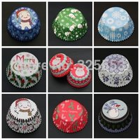Wholesale 400pcs cake decorations cupcake liner paper baking cups muffin case cupcake box for Christmas day