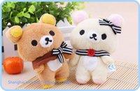 Wholesale 1Pair Kawaii Standing CM Lover Rilakkuma Bear Plush Stuffed TOY Soft Figure DOLL Key Chain Design BAG Pendant Charm TOY A2
