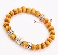 al por mayor madera de cuentas antigua-2015 venta al por mayor Nuevos productos de la llegada de 8 mm pulseras moldeadas Buda plata antigua con bonitas bolas de madera de la joyería-J585
