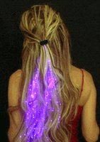 Wholesale Cool glowing braid LED braid Light emitting headdress optical fiber for dance party concert led toys
