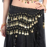 Belly Dancing sequin scarves - New Solid Color Belly Dance Dancing Hip Skirt Scarf Wrap Belt With Gold Coins