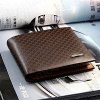Wholesale New Fashion Genuine PU Leather Plaid Wallet Male Bag Brand Men Wallets Handbag Purse