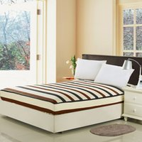 Wholesale Wholeale Stripes Fitted Sheet Home Textile Bed Sheets Hotel Bed Covers Mattress Cover Protector King Queen Full Twin Size Cotton