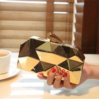 bags evening gowns - Fashion Motorcycle Style New Arrival Black Gold Metal Geometric Clutch Hand Bags For Party Evening Gowns Women Bags EN8214