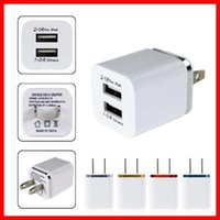 Wholesale Top Luxury V A Double USB AC Travel US Wall Charger Plug For Apple iPhone Samsung Galaxy HTC Smart Phone Adapter