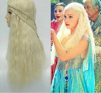 hair weave and wigs - Fire and Ice Daenerys Targaryen waved hair Long Weaving Braid Costume Cosplay Wigs