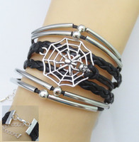 beaded spider - 2 styles fashion models jewelry Elbow spider web woven leather bracelet manufacturers spot Exclusive custom Handmade Beaded Antique