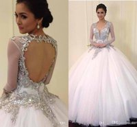Wholesale Short Hollywood Dresses - Beaded Crystal Hollywood Wedding Dresses Sheer Long Sleeves Ball Gown Court Train Backless Gown For Tonight Brides Gown Free Shipping 2015