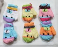Wholesale Kids Gloves Bear Baby Boys Girls Fur Mittens Outdoor Gloves Winter Christmas Child Kids Accessories Crochet Warmth Thick Mitts colors