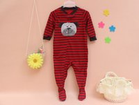 Wholesale Baby cartoon long sleeved pajamas One Piece christmas stripe pajamas baby Package foot jumpsuits childrens Climb clothes