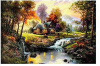 Wholesale Thomas Kinkade Art Oil Painting Mountain Retreat on canvas