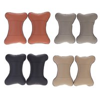 Wholesale 2pcs PU Leather Car Seart Pillow hole digging Auto Seat Cover Head Neck Headrest Cushion Pillow