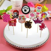 Wholesale 12pcs Birthday Party Cupcake Paper Food Picks Sticks Toppers Cake Decoration
