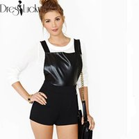 Cheap Supernova sale 2013 summer high waist black cotton PU leather jumpsuit rompers for women sexy bib overalls shorts free shipping