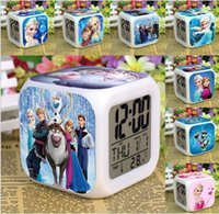 Wholesale EMS New Arrival Customization Elsa Anna Clocks Cartoon Change Colorful Children Girls Boys High Quality LED Alarm Clock K2610