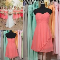 coral for sale - 2015 Coral Junior Bridesmaid Dresses For Young Girls Hot Sale Cheap Summer Beach Garden Rustic Boho Chic Short Chiffon Maid of Honor Gowns