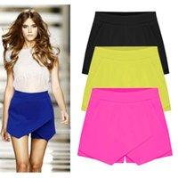 Wholesale Women Shorts Candy Color Irregular OL Low Waist Summer Mini Chiffon Shorts