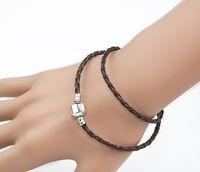 authentic pandora leather bracelet - Authentic Leather Pandora Bracelet Long Clasp DIY Jewelry Fit For Charm Jewelry Sterling Silver Clasp Lady Bracelet
