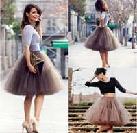 apple midi - 2016 New Cheap Knee Length Puffy Tutu Skirts Midi Sheer Mesh Skirt Women Short Party Gowns Cocktail Dresses For Women Fluffy Puffy Skirt