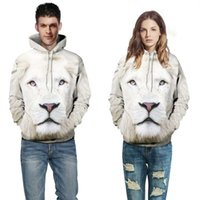Wholesale white lion Hoodie d print animal men women sweatshirts Front Pocket Loose Fit Drawstring coat all over print jumper jersey