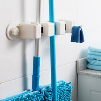 Wholesale Multifunctional strong suction cup seamless mop rack mop frame besmirchers rack mop deck wall hanging Hooks