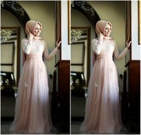 abaya sale - Hot Sale White Elegant Muslim Arabic Kaftan Evening Dresses With Long Sleeves Abaya in Dubai Formal Women Dresses Pageant Party Gowns