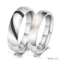 ring size 4 - FOGEOS L Stainless Steel Half Heart Simple Circle Real Love His and Hers Promise Couple Wedding Rings Engagement Rings Valentines Gift