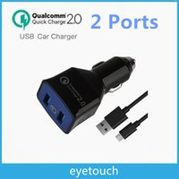 Wholesale 100pcs Qualcomm Certified Quick Charge Technology W Ports USB Fast Car Charger Adapter Dual Turbo Rapid Ports both support QC