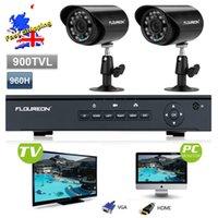 al por mayor kit de 4 canales interiores circuito cerrado de televisión-FLOUREON 2 Sistema de cámaras de seguridad de 4CH completa 960H HDMI CCTV DVR + 2 X 900TVL impermeable / cubierta Kit CCTV cámara al aire libre con IP