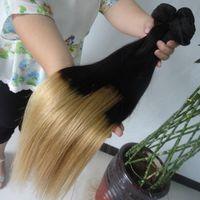 Cheap Brazilian Hair Bundles Ombre Color Blonde Human hair Extensions Straight 100% Remy Virgin Hair Weave 3 4pcs Lot Malaysian Peruvian Hair
