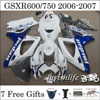 Wholesale Motorbike Fairing Set For Suzuki GSXR750 GSXR600 GSXR GSXR k6 ABS Beautiful White Blue Windscreen Jordan Gifts